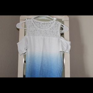 Abercrombie Blue and White Cold Shoulder Top